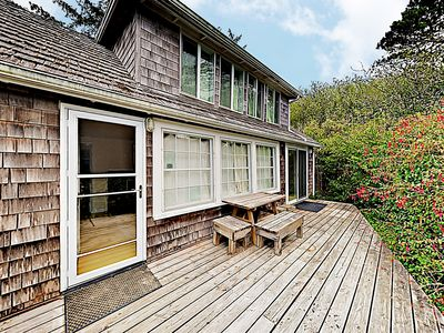 Unit 1: Porch - The cabin offers a private porch, appointed with 2 Adirondack chairs and a picnic table.