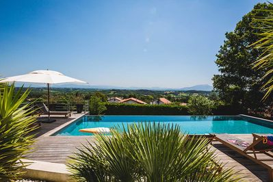 swimming pool and mountain views