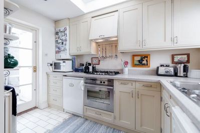 Kitchen area - fully equipped for 6 people for dinner plus coffee maker, toaster