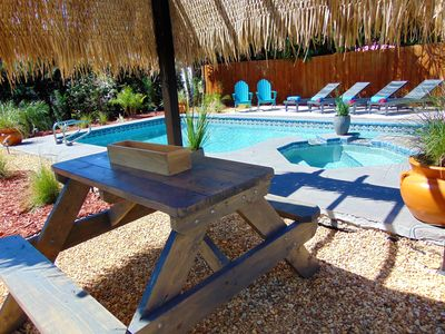 Photo for NEW listing! Boutique Beach Cottage! Private Cabana Heated Pool Spa walk 2 Beach