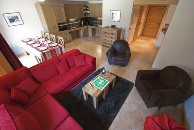 Spacious open plan living dining and kitchen areas.
