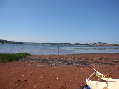 The beach area 300 yards in front of the cottage and where we launch canoe