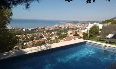 Photo for Best location Sitges-Wonderful Villa Sunlight (Ibiza Style) Pool & Stunning view