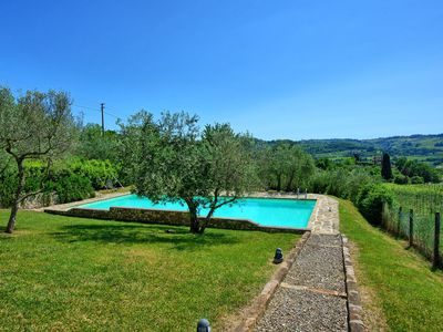 Photo for Beautiful apartment with pool, WIFI, TV, panoramic view and parking, close to Greve In Chianti