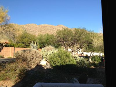 View of Catalina Mountains from Kitchen window.