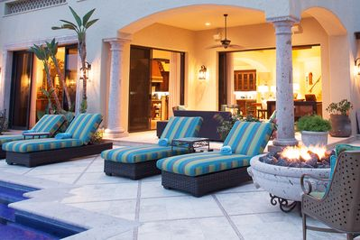 Outdoor Pool Terrace - Massive outdoor living area with an infinity pool, hot spa, fire bowl, and outdoor dining.