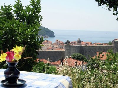 Photo for Cosy apartment overlooking City walls and island Lokrum, private terasse, WI-FI