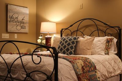 luxury bedding, with featherbed and down comforter
