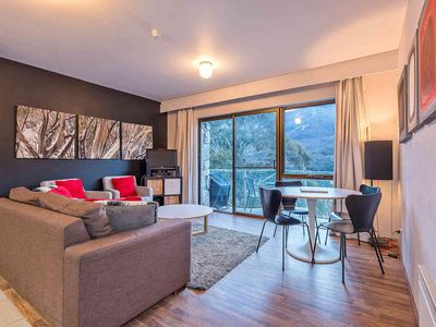 Photo for Spectacular mountain views from the living room and bedroom.