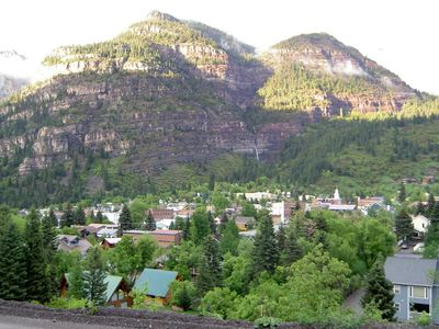 Summer view of Cascade Falls and Ouray from Aspen House