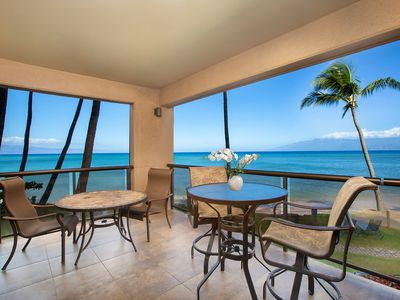 Photo for Sands of Kahana 215, 2BD/2BA, Corner, Ocean Front with central AC  & Sunset View