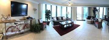 Open LR has full windows and doors to Balcony on 3 sides; Huge 2400 sf Condo!