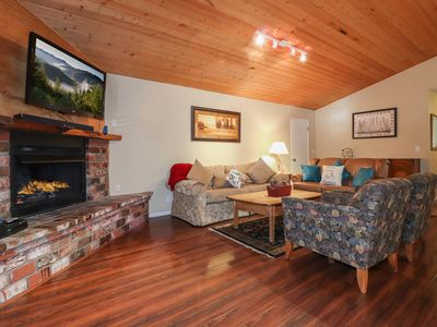Photo for Hawks Nest: Near Snow Summit! Game Room! Hot Tub! Pet Friendly! Cute Backyard! Cable TV! Fireplace!