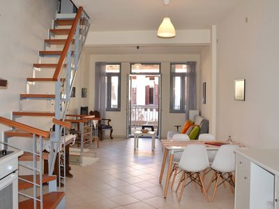 Photo for Charming old town house with big sun terrace, just a few steps to the beach