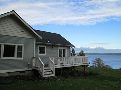 view of saratoga passage and Holmes Harbor and side view of cottage