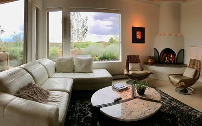 Living room - gas fireplace - mountain & downtown views