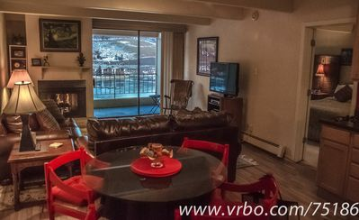 Relax with incredible views over Dillon Bay with a warm cozy gas fireplace