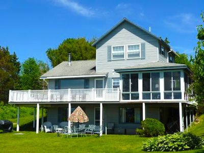 Peregrine Cottage from front lawn. 3 floors,3 bedrooms, 3 full baths, privacy.