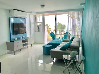 Photo for 2 Bedrooms  facing beach with a private  balcony facing beach walking to casino