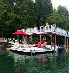 Dock. 4 chairs, 2 lounge chairs and umbrella available, plus place to dock boat