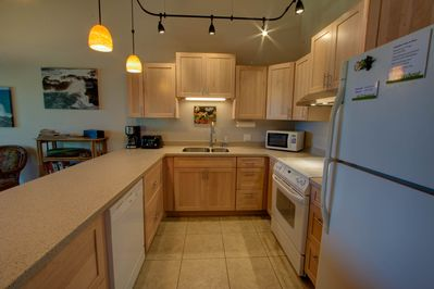 Kitchen has everything you need for a snack or a full meal.