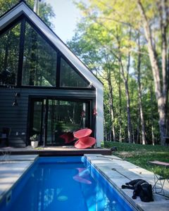 Photo for Elegant + Modern Upstate NY Cabin in the Woods with year round hot pool.