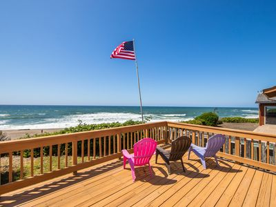 Photo for Oceanfront dog-friendly house w/outdoor deck, private hot tub & stunning views!