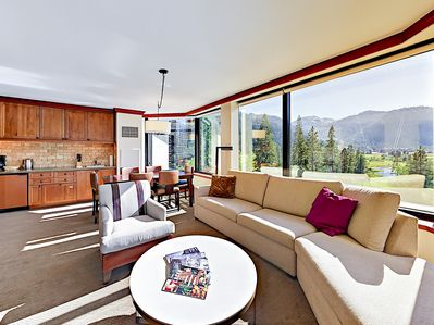 Living Room - Welcome to Olympic Valley! Sprawl out on 2 sofas and a comfy armchair for a movie screening on the flat screen TV.