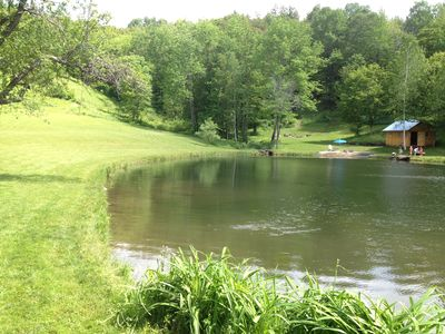 Pond with sandy beach, jumping rock canoe available for use. Great fishing...