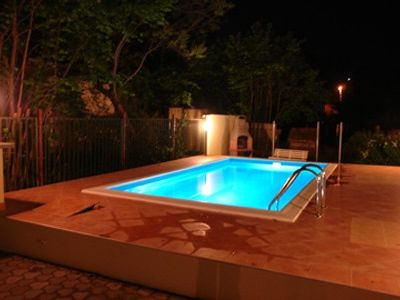 holiday home with private pool for 7 150 m away from beach, in the city center
