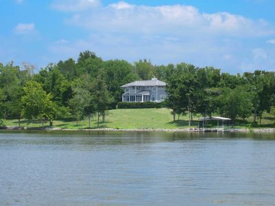 Photo for Lakefront 180 degree Panoramic View: gentle sloping land, private dock