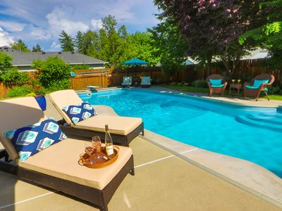 Photo for Quiet Updated Neighborhood Home With Pool & Hot Tub - Walk to Town