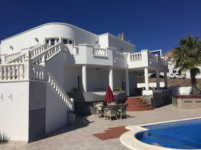 Photo for Luxury Villa with Sea Views, Heated Pool, Outdoor Hotspa Jacuzzi.SkyTV and WiFi