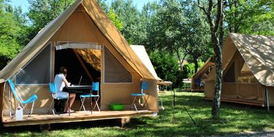 Photo for Camping Huttopia Noirmoutier ** - Tent Canvas & Wood Seaside 3 rooms 5 people
