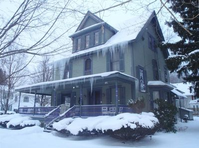 Victorian Home, Ellicottville, NY in the wintertime.
