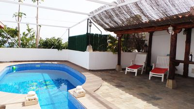Photo for Bright house with sea views with private heated pool