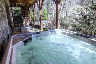 Hot tub on lower level