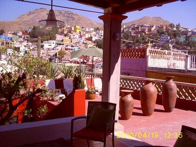 Roof-top View Terrace, Lounge Area, Covered Patio, Mountains, Central Guanajuato