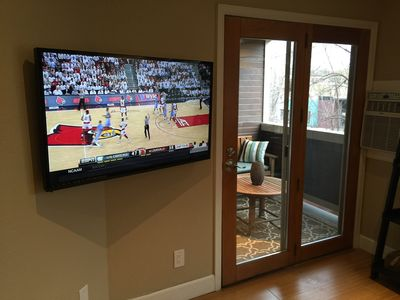 Enjoy watching the 44 inch T.V. in the family room.