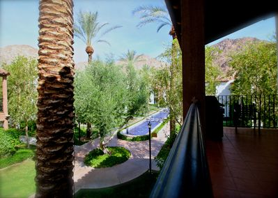 Balcony views of the mountains and fountains of Legacy Villas. Electric Grill.