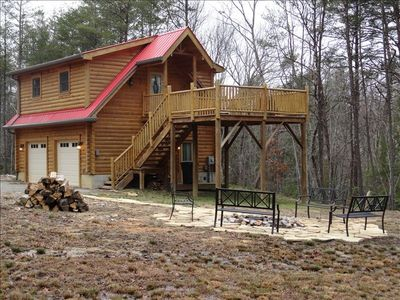 Cabin at Stone Creek. Note the newly improved fire pit, stone walkway & benches.