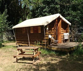 Photo for Camping du Viaduc ** - Wooden cabin 3 Rooms 4 People