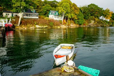 Eye-catching view of the cottage (center) from the private dock.
