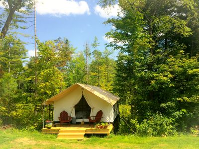 Photo for GLAMP SUZANNE: CANVAS CABIN ON PRETTY ADIRONDACK FARM OFFERS PRIVACY AND VIEWS