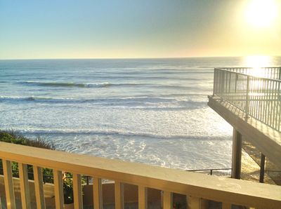View of the ocean from balcony with direct access to the beach.
