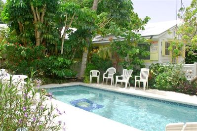 Shared pool with total of three cottages on property.