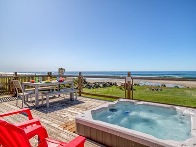 Photo for Oceanfront Home w/ Ocean View Hot Tub & Easy Beach Access!