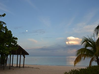 Morning beach, with setting moon, just over the hammock hut