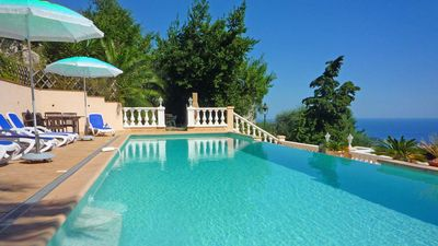 Photo for Spacious Villa with fabulous Sea Views, Large Pool, Gardens & Parking sleeps 10.