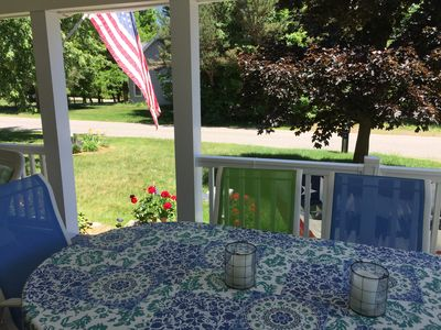 Dine on the porch that seats 8.